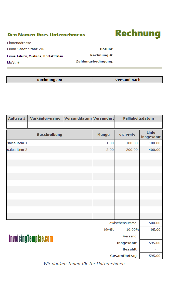 invoice template with deposit