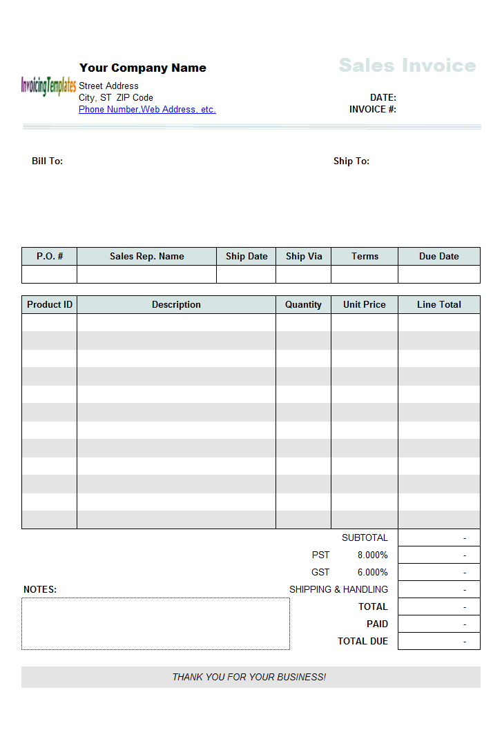 Thumbnail for Sales Invoicing Template