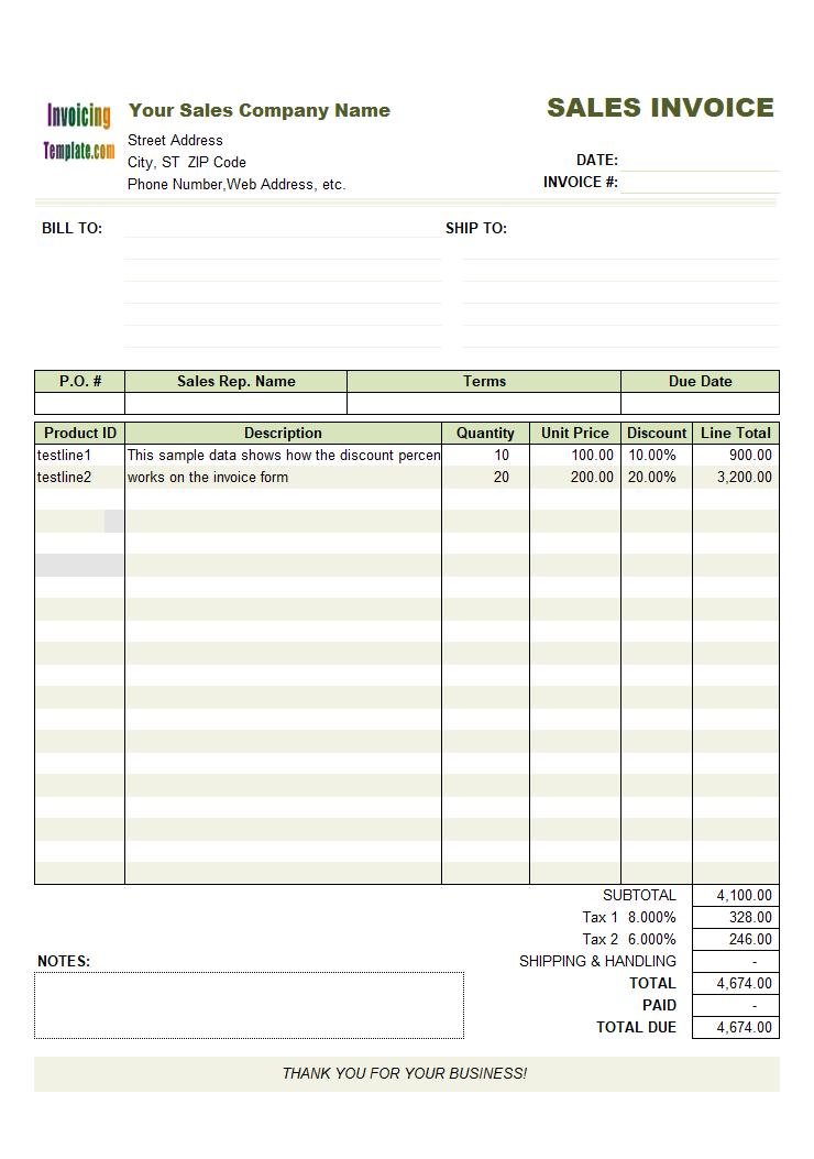 Thumbnail for Sales Invoice Template with Discount Percentage Column