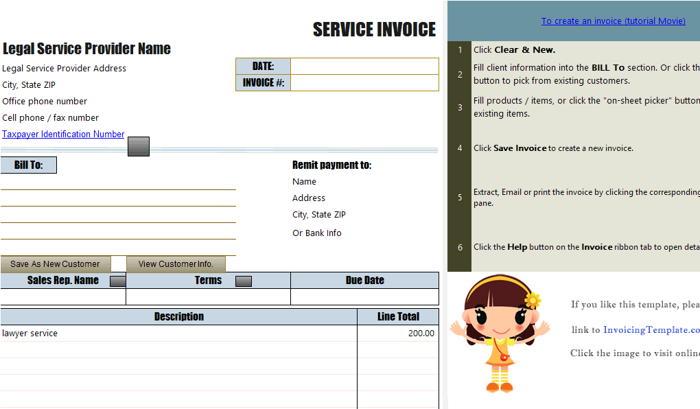 Sample Legal Invoice In Excel For Services Rendered