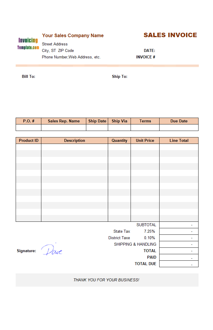 Invoice With 4 Template Columns