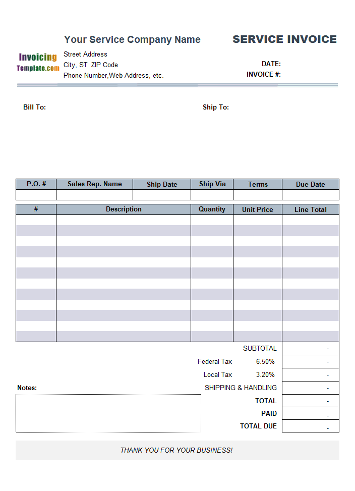 Sample Service Invoice Template: Using Line Number Instead of Item#