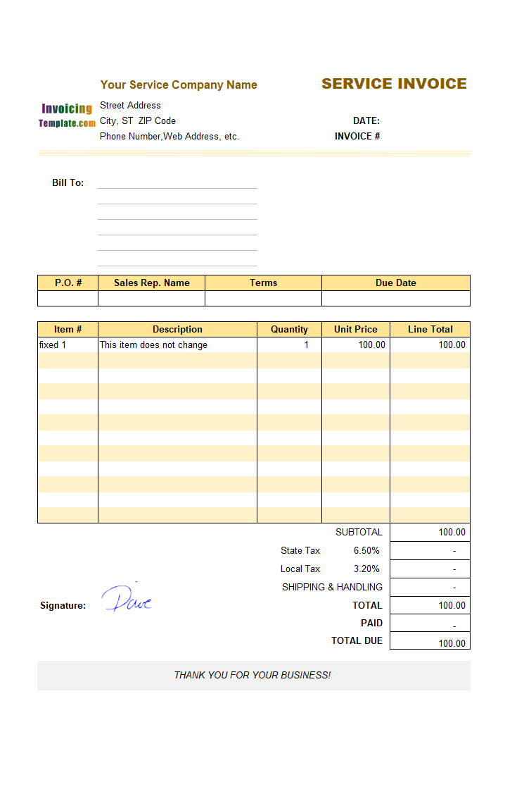 Sample Service Invoice Template: Fixed Items
