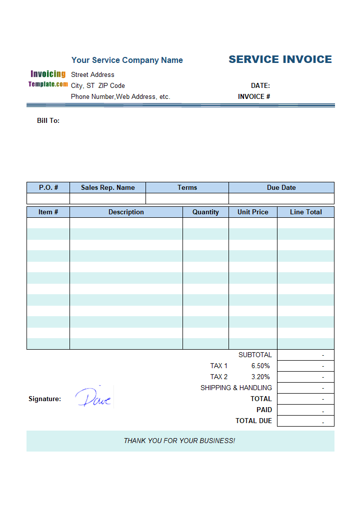 Sample Service Invoice Template: Using Handwriting Signature