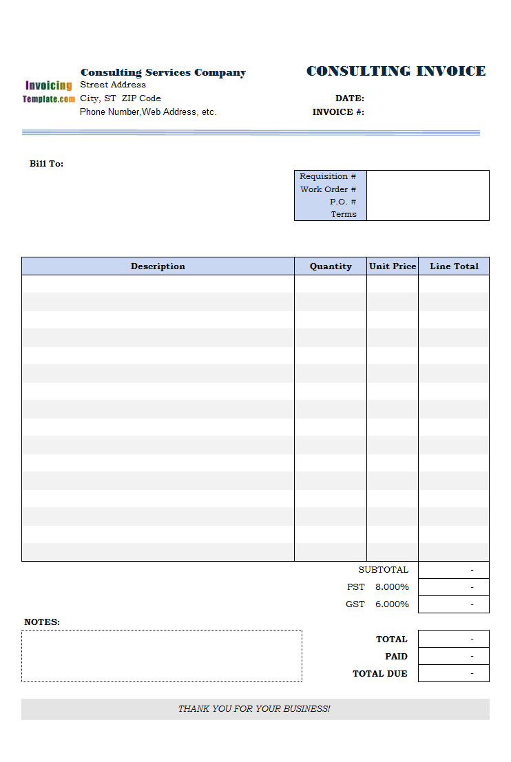 sample invoice down payment