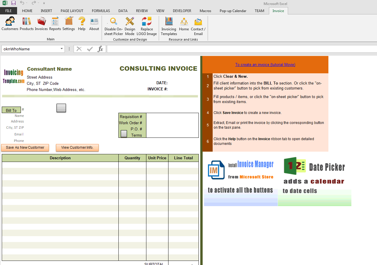 Consulting Invoice Template (3rd Sample - One Tax) (IMFE Edition)