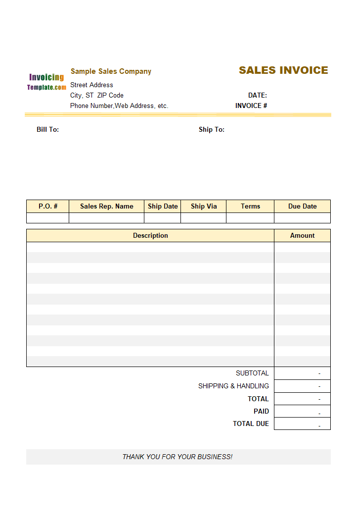 sample sales invoice form template .