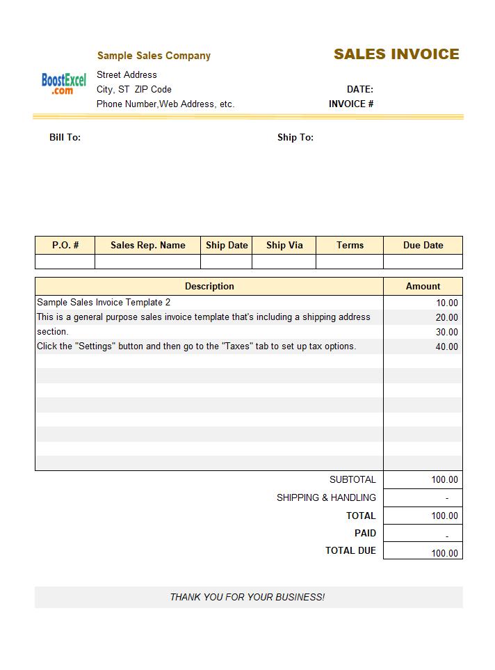 sample sales invoice template 2