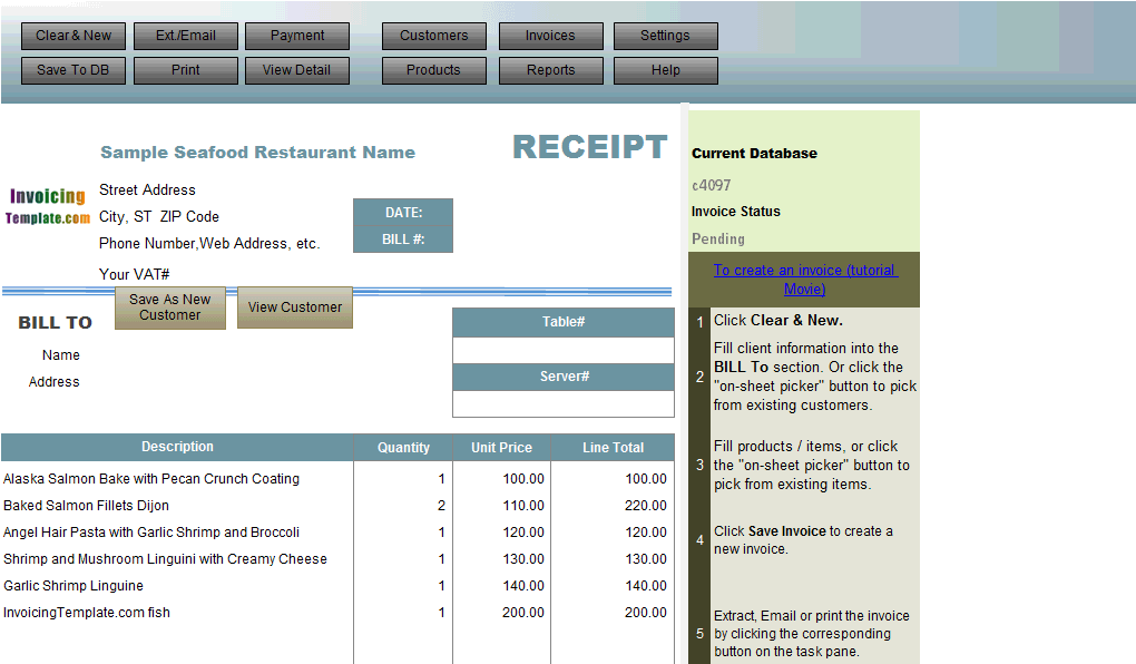 Receipt Template for Seafood Restaurant
