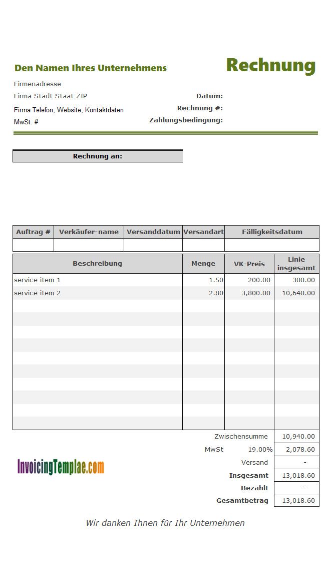 Service Invoicing Template for Germany