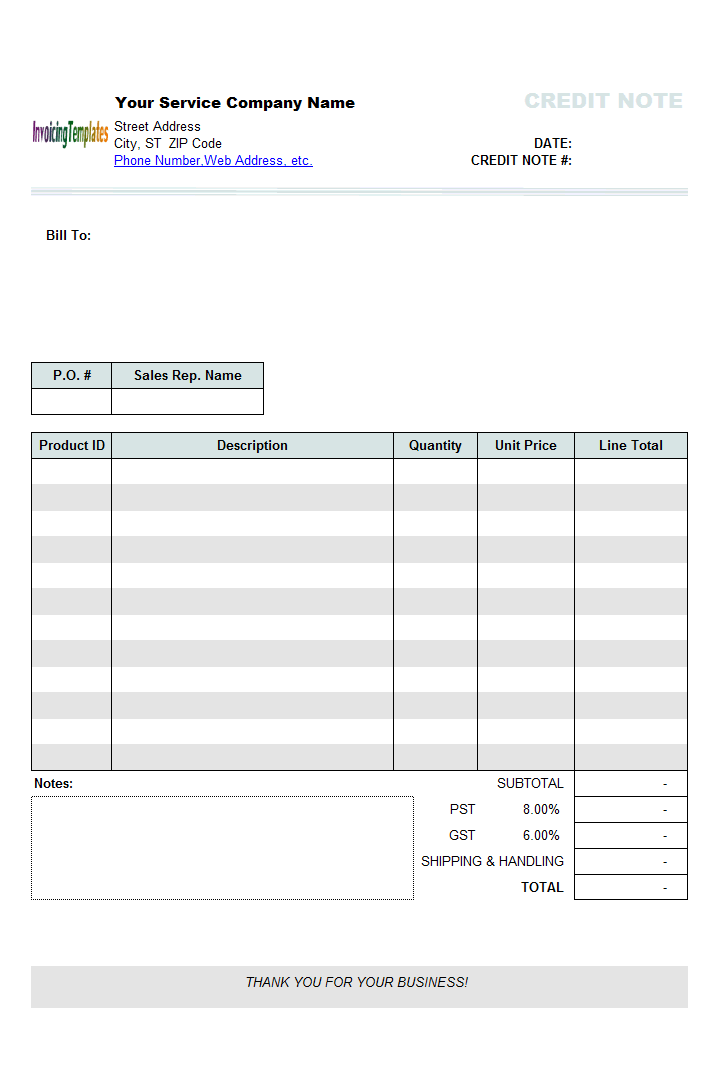Service Credit Note Template