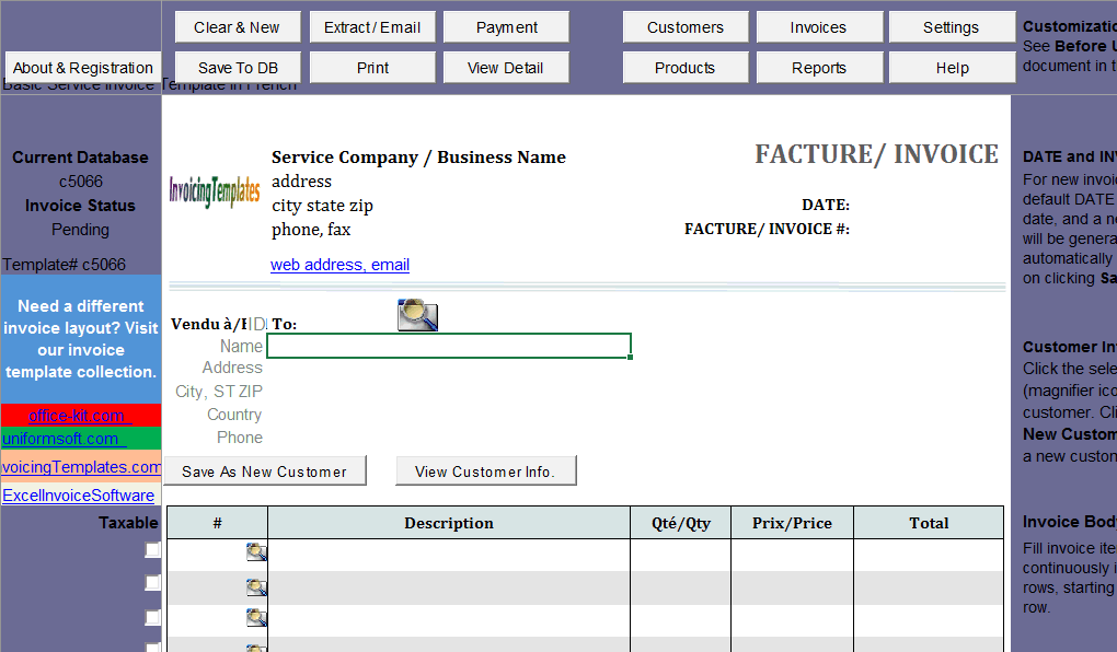 Basic Service Invoice Template In French Imfe Edition