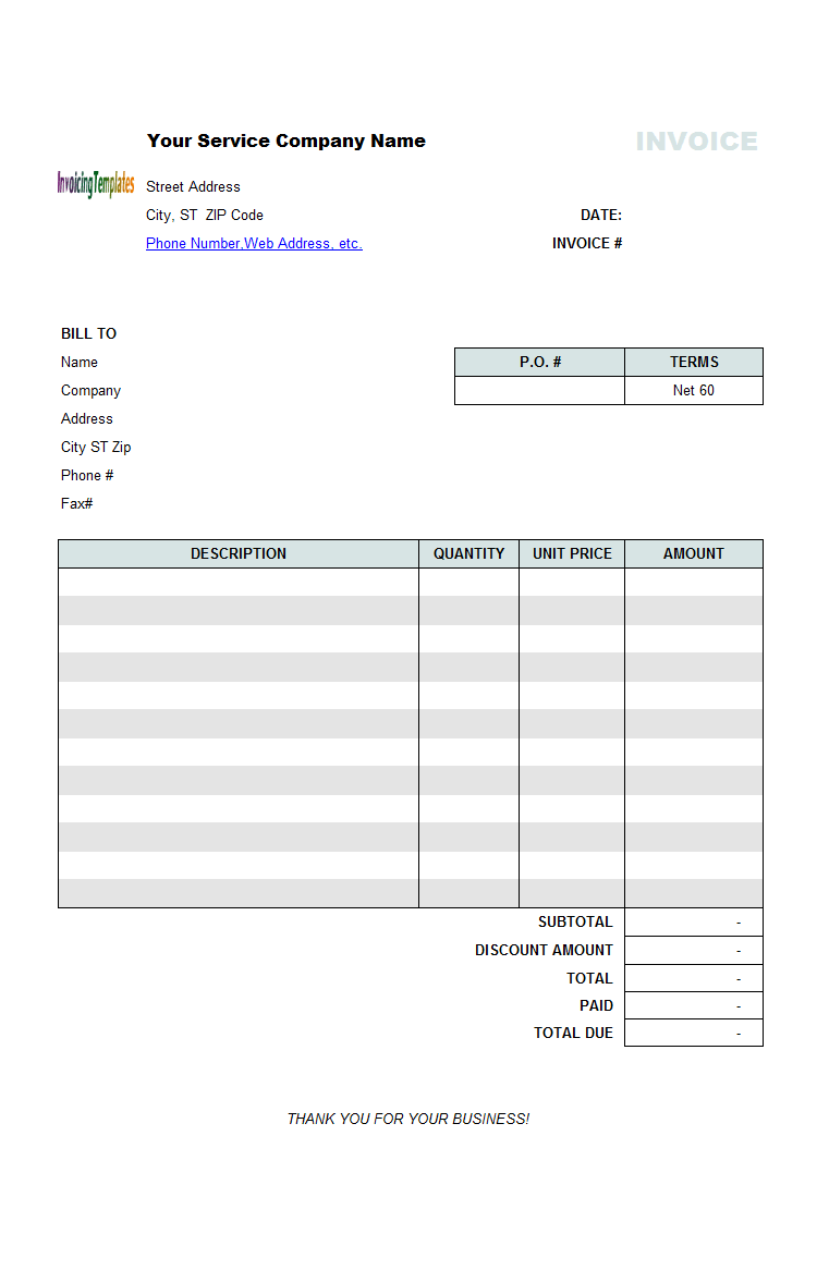 service invoice with discount amount