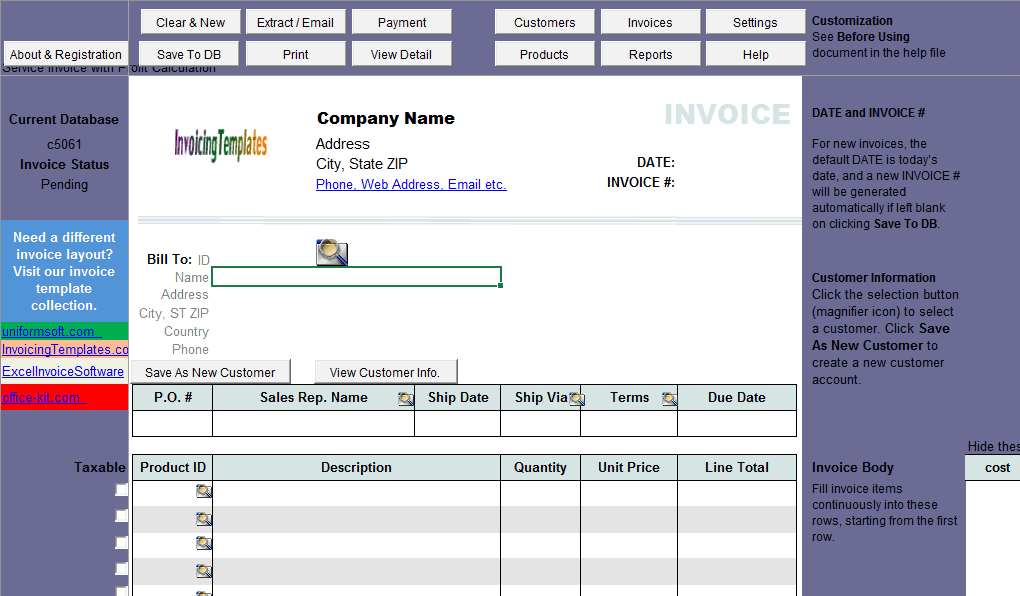 Service Invoice with Profit Calculation