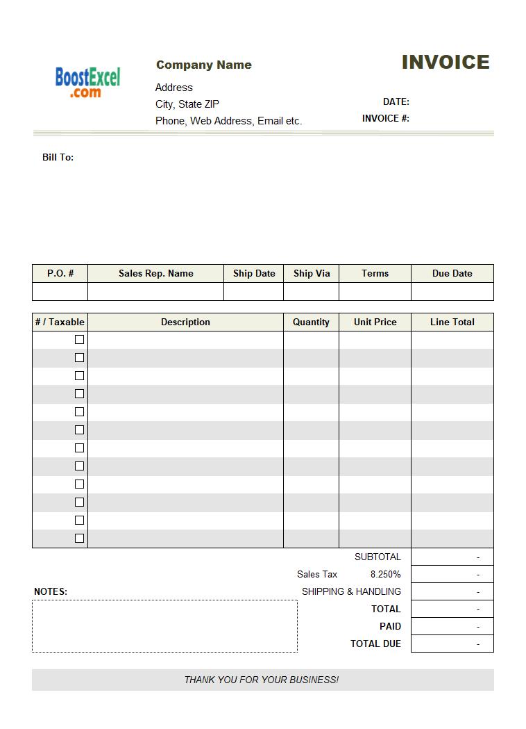 job invoice sample  taxable column