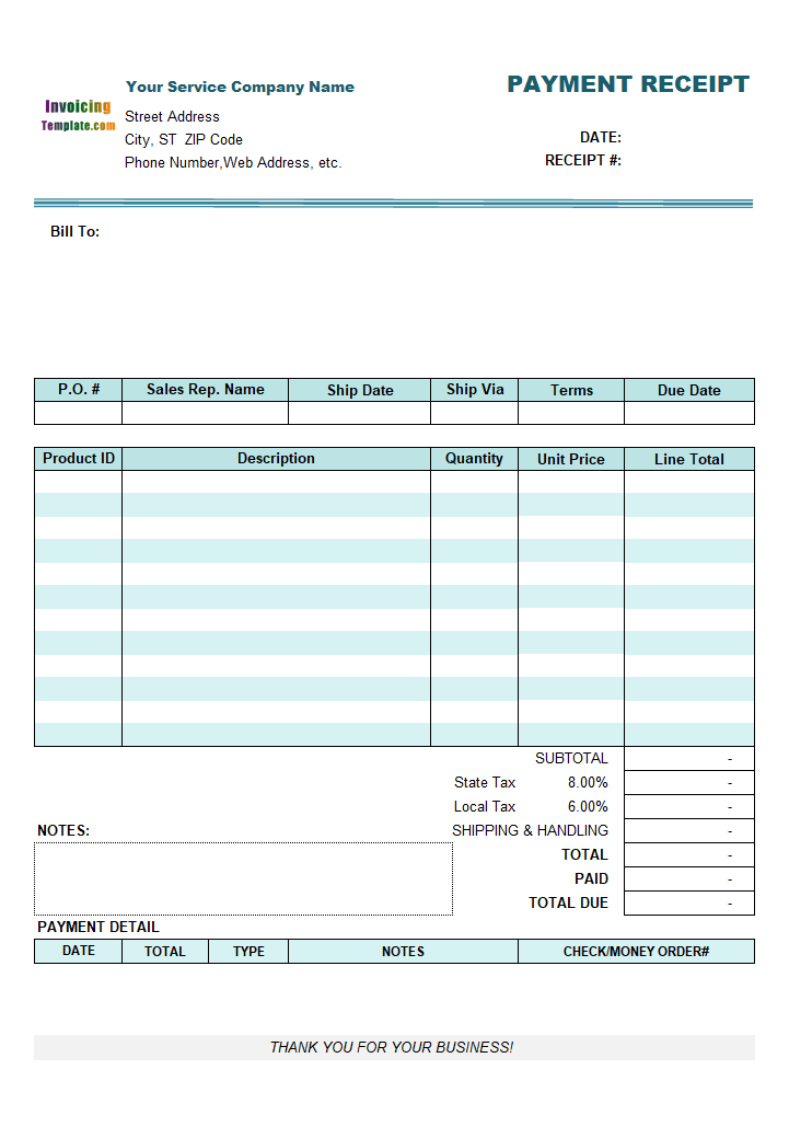 Service Receipt Template – Receipt for Services Template