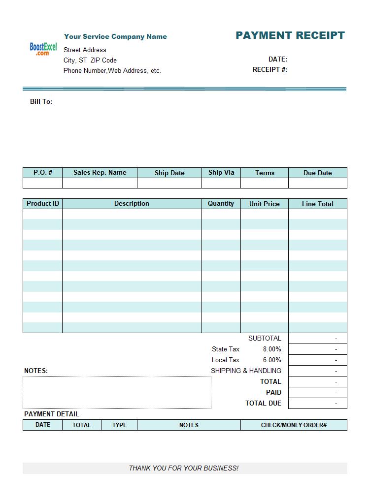 service receipt template