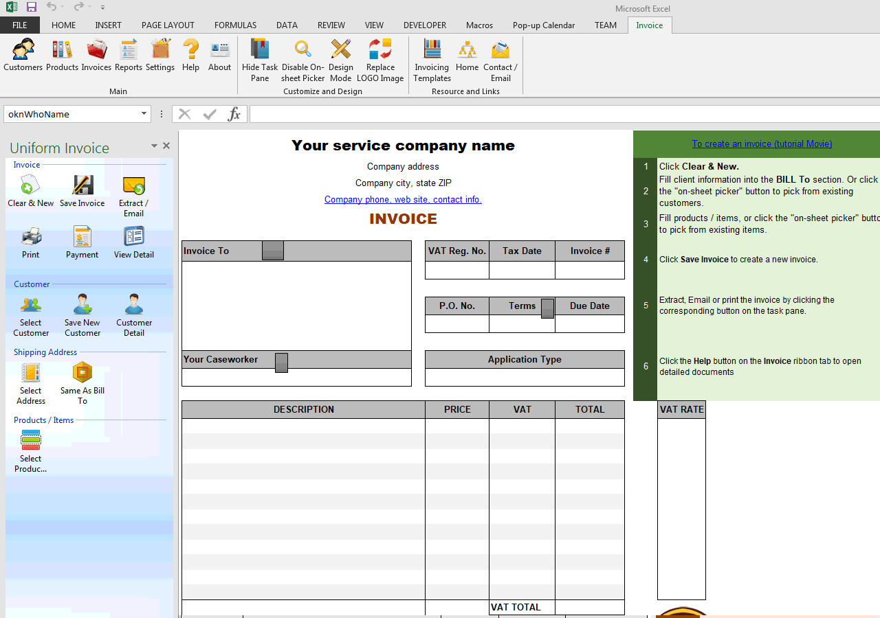 Service VAT Invoice Template - How to create a new invoice template in quickbooks for service business