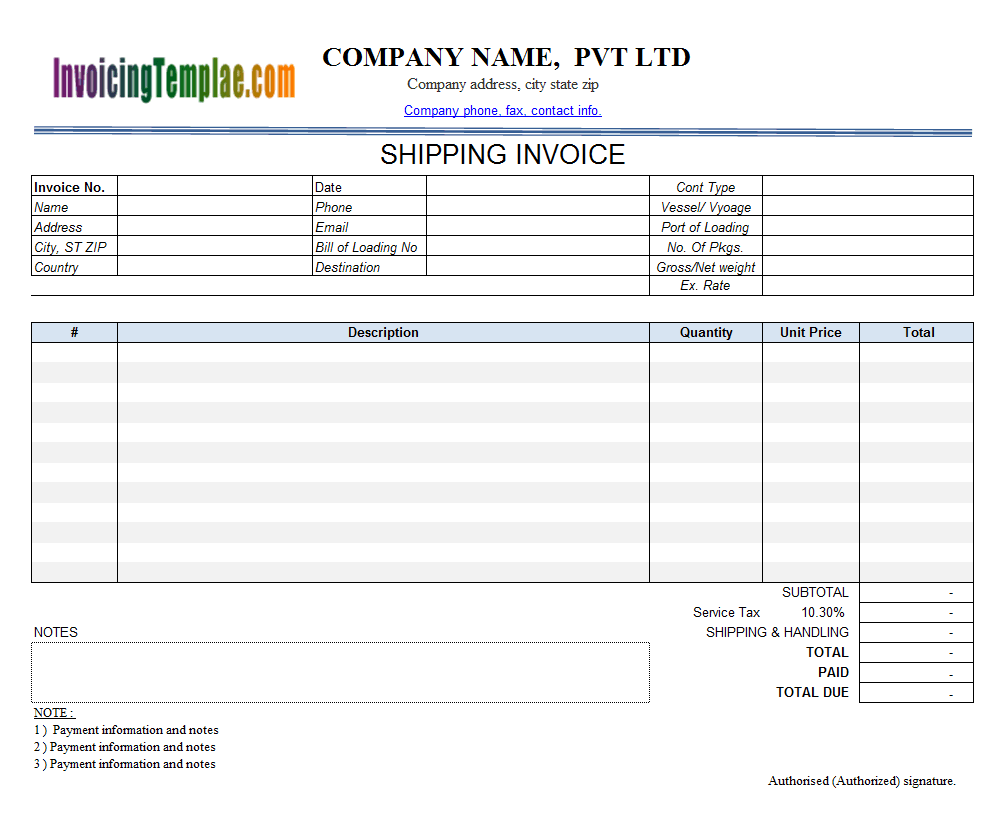 shipping invoice template  2