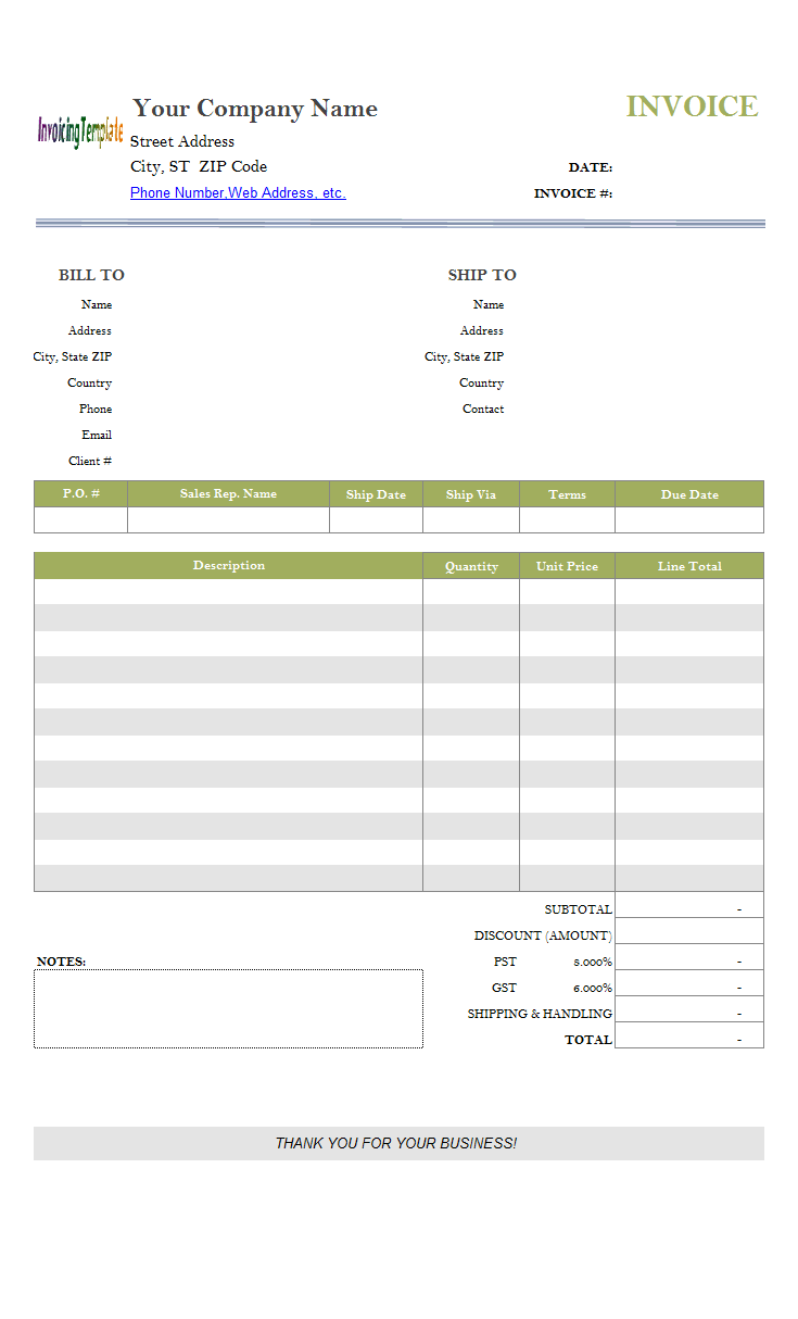 free sales invoice template excel  Sales Invoice Template
