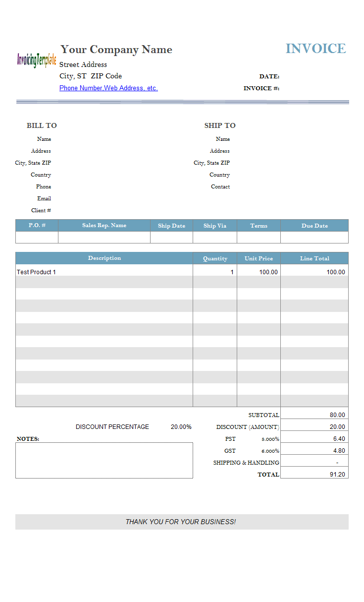 Excel Invoice Template With Formulas