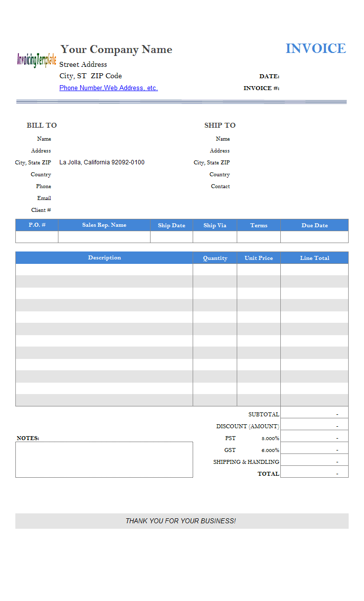 Simple Invoice Template - Splitting City State ZIP