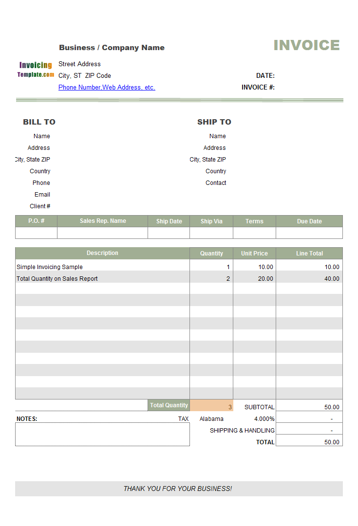 Simple Tax Invoice Sample With Tax Rate List - Business invoice template excel