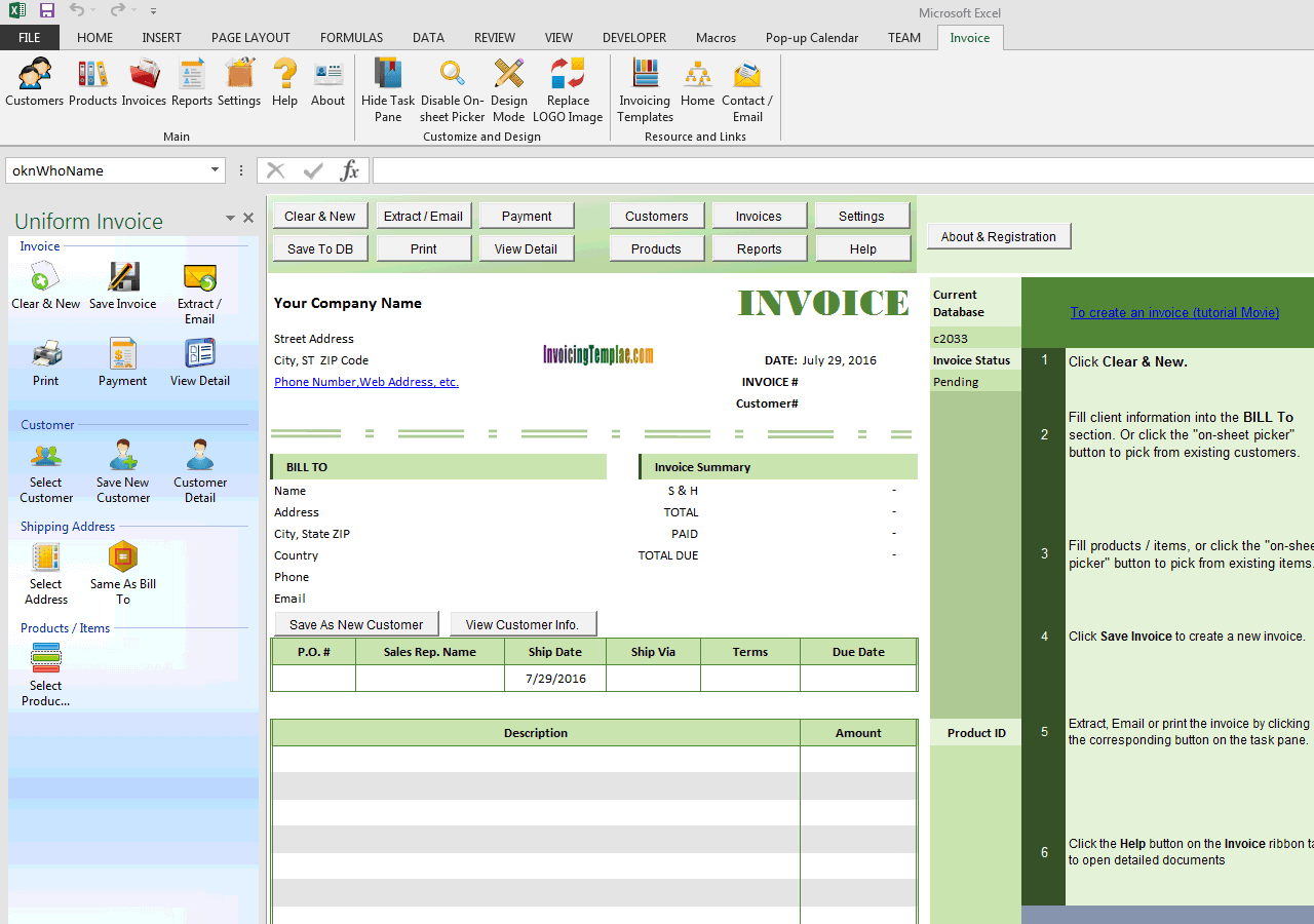 Simple Service Bill with Pleased Customer Image (IMFE Edition)