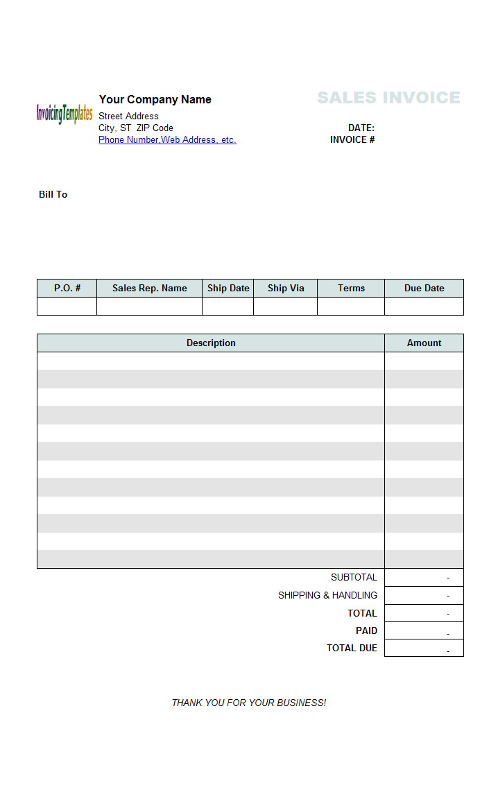 simple 2 column sales invoice sample