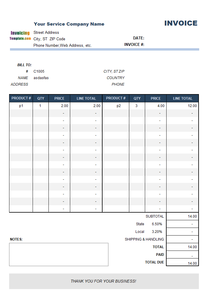 Simple Service Invoice Template without Item Description
