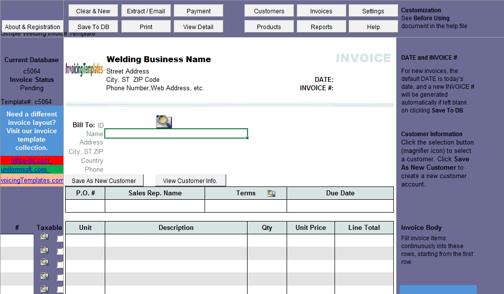 Simple Welding Invoice Template (IMFE Edition)
