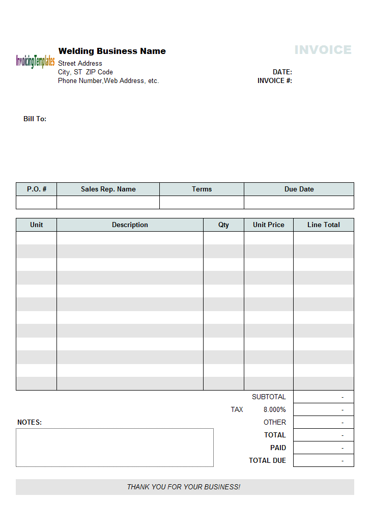 Simple Welding Invoice Template - freeware edition