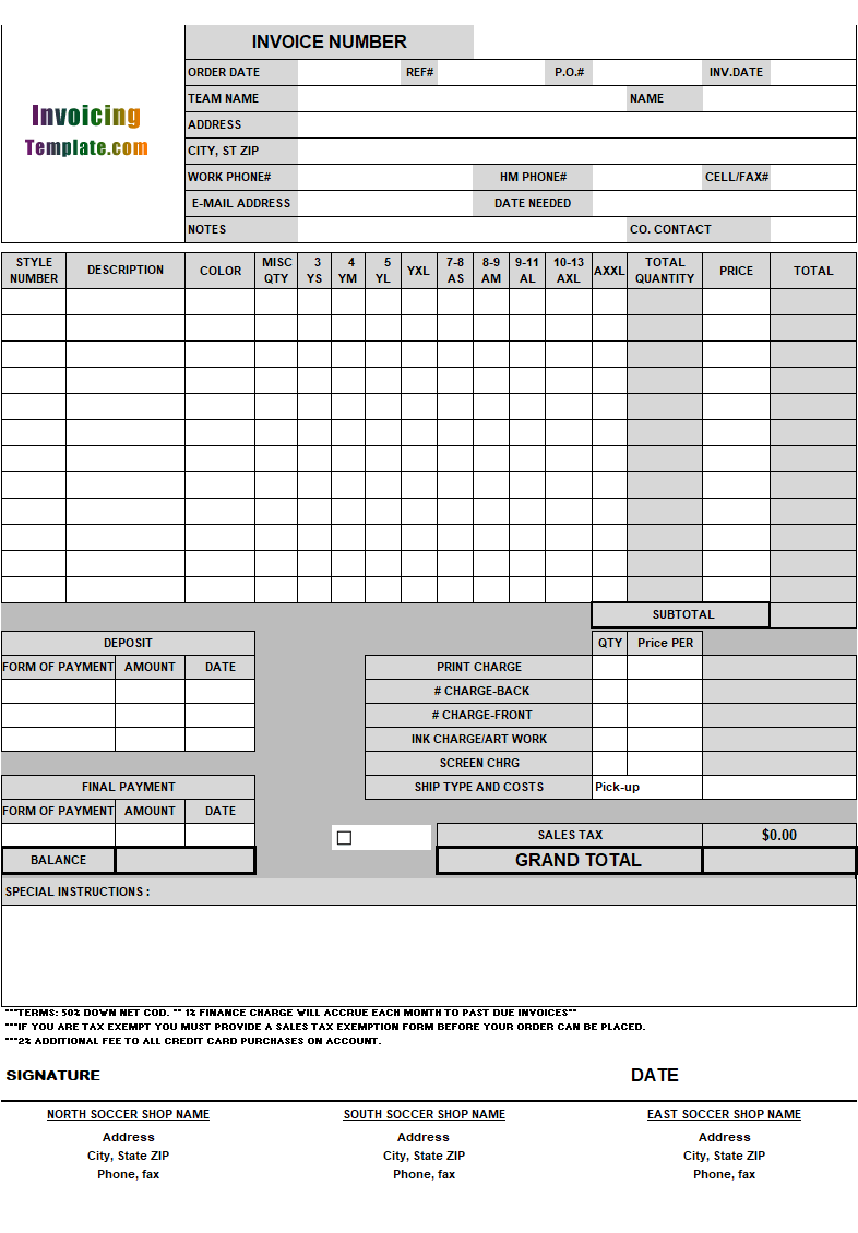 soccer shop invoice template