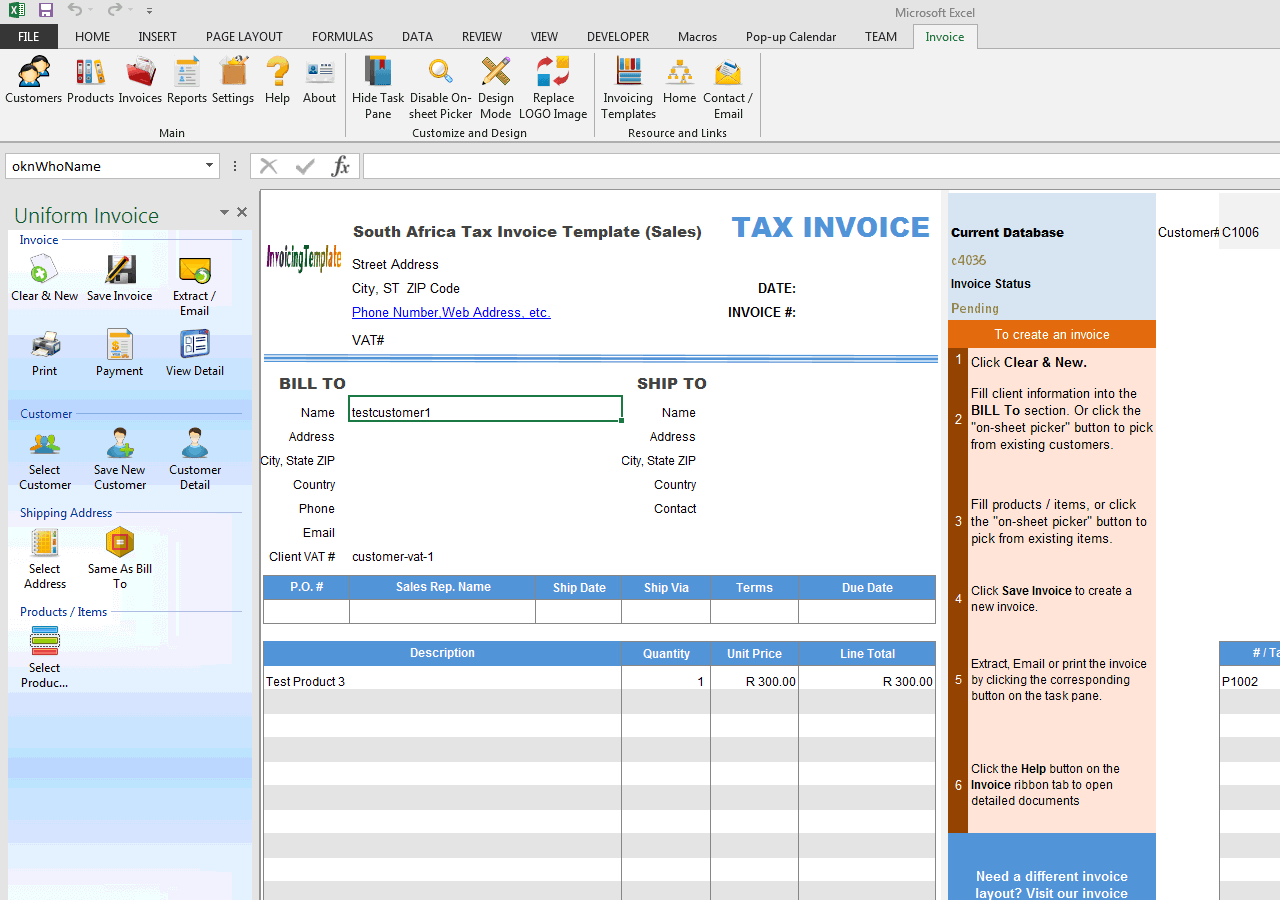 south africa tax invoice template (sales), Invoice templates
