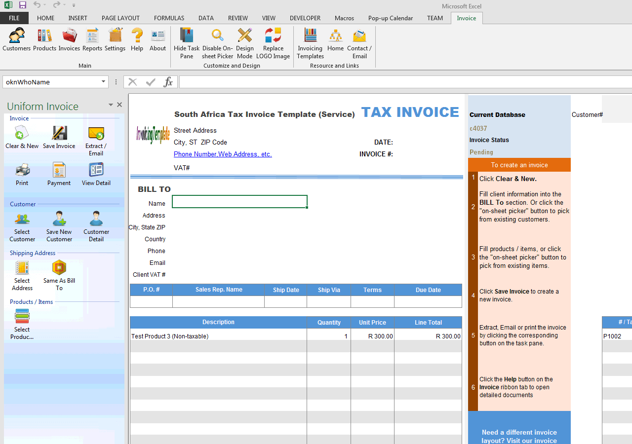 south africa tax invoice template service
