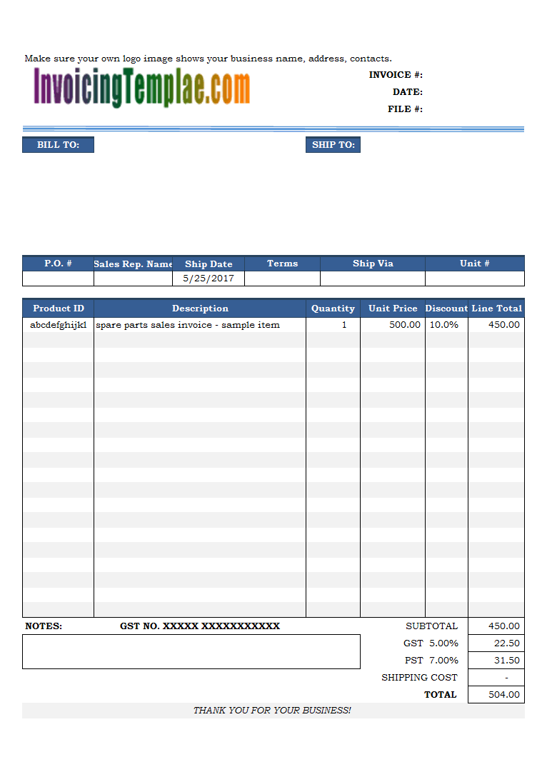 parts invoice template  Sales Invoice Template