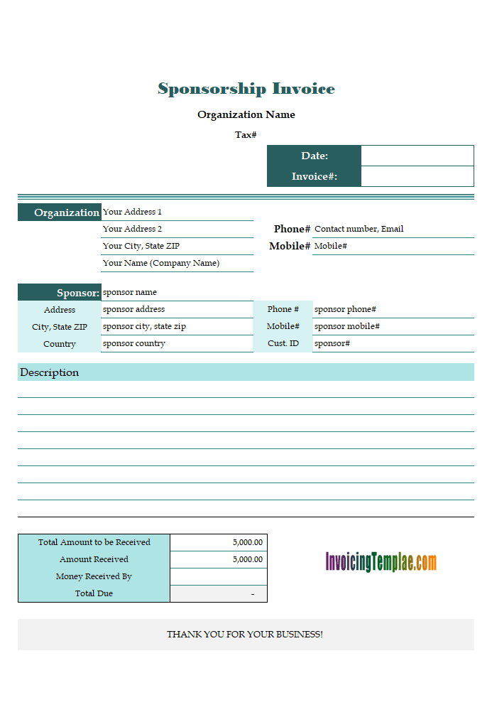 Generic Sponsorship Invoice Sample