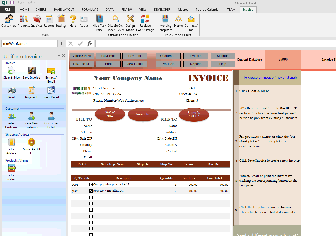Standard Business Invoicing Template with Oval Button (UIS Edition)
