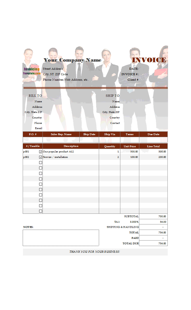 Standard Business Invoicing Format with Oval Button
