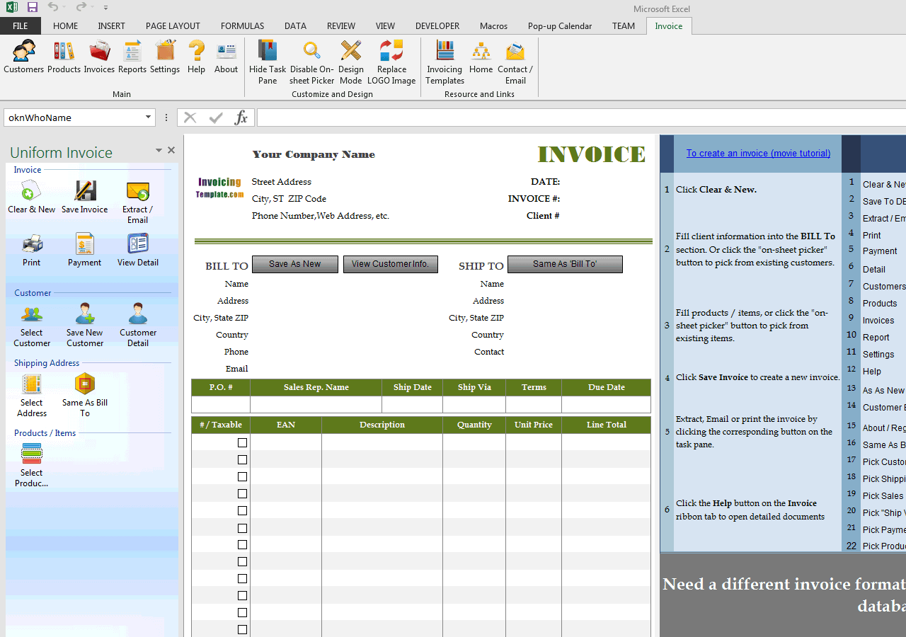 Standard Invoicing Template with EAN (UIS Edition)