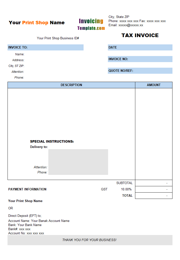 Tax Invoice for Printing Shop – Print a Receipt Free