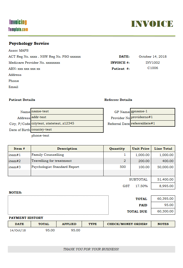 Tax Invoice Template for Psychology Service