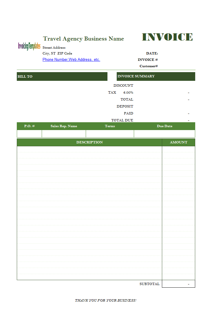 travel invoice template  Travel Service Bill Format