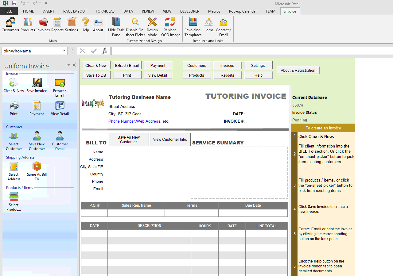 Tutoring Invoice Template (UIS Edition)  Draft Invoice Template