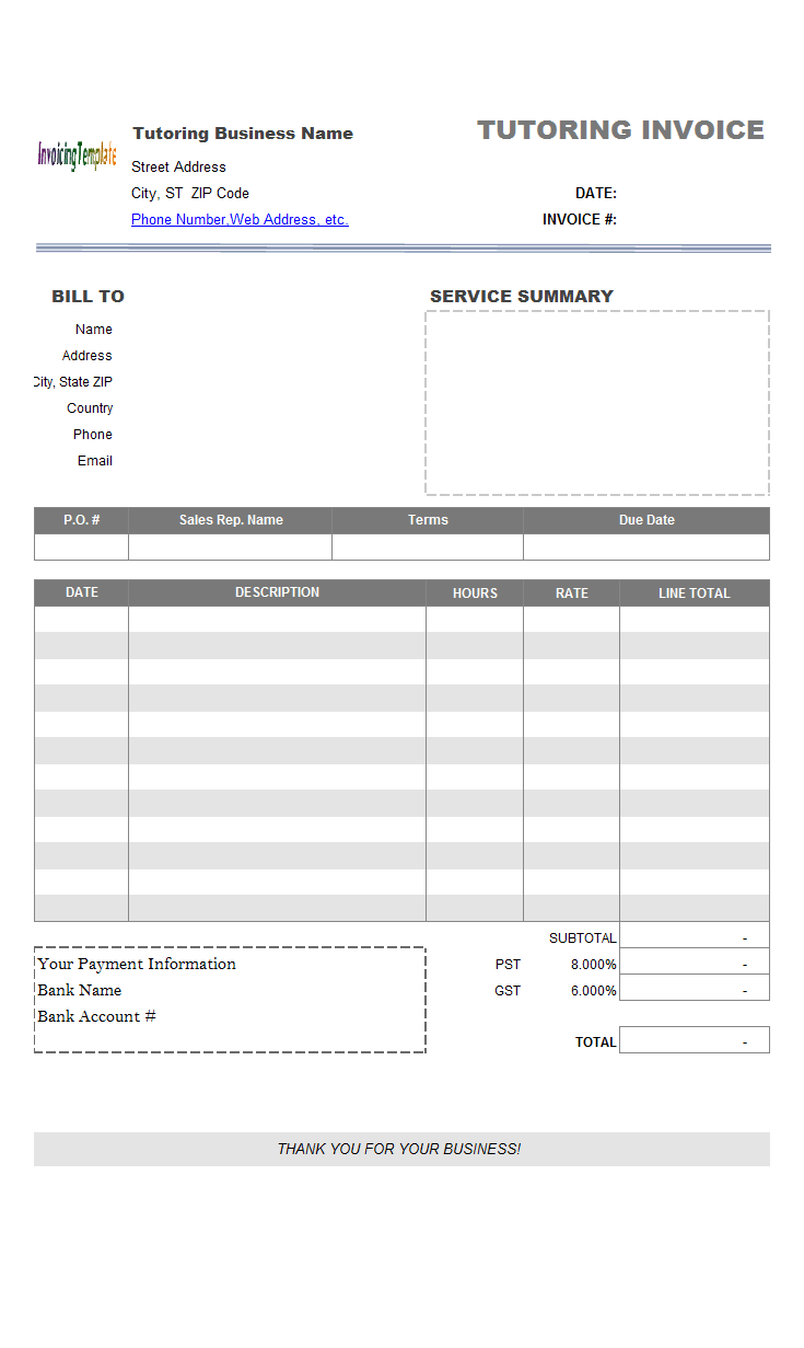 general purchase invoice template  service  one tax