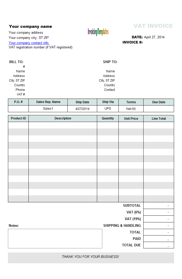 vat invoicing sample with 2 separate rates