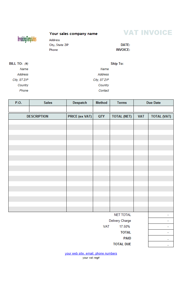 VAT Sales Invoicing Template - Price Excluding Tax