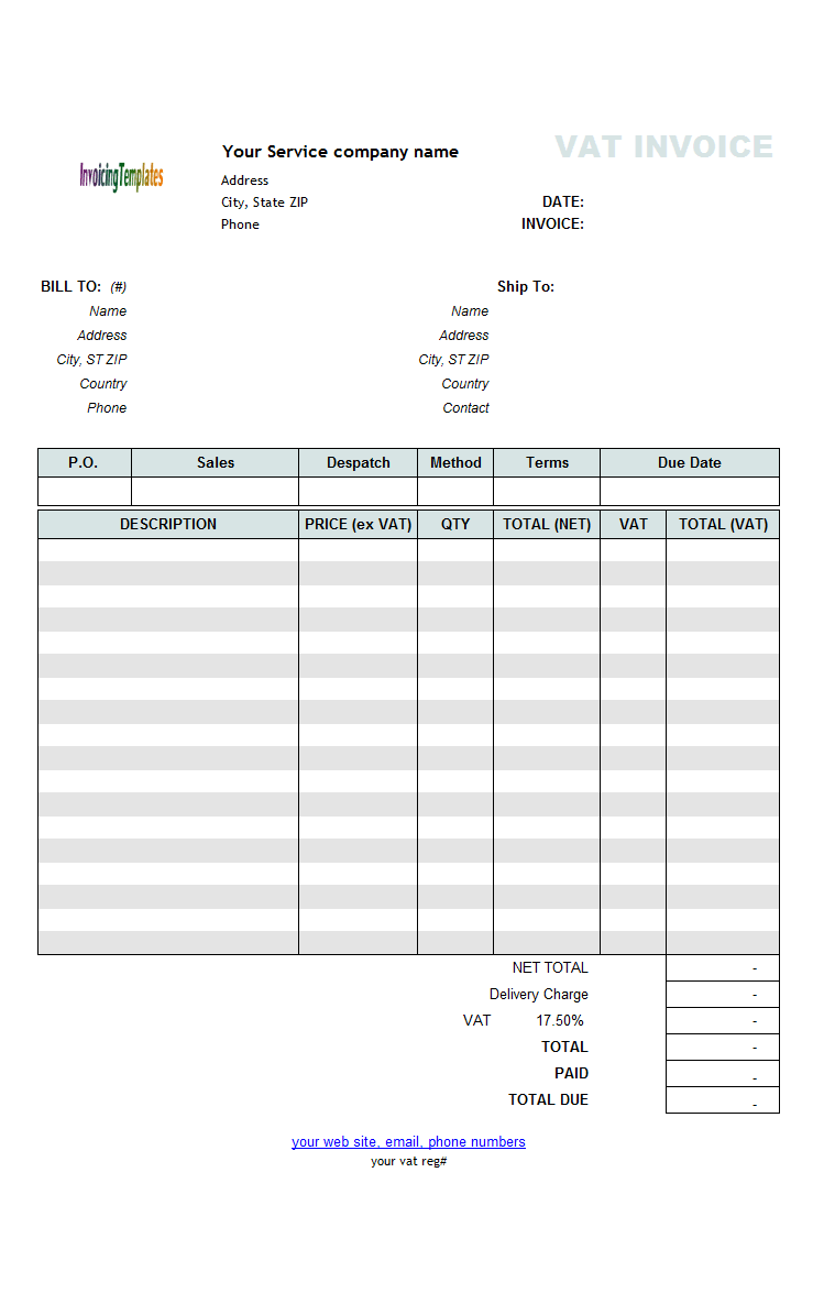 vat service invoice template price excluding tax