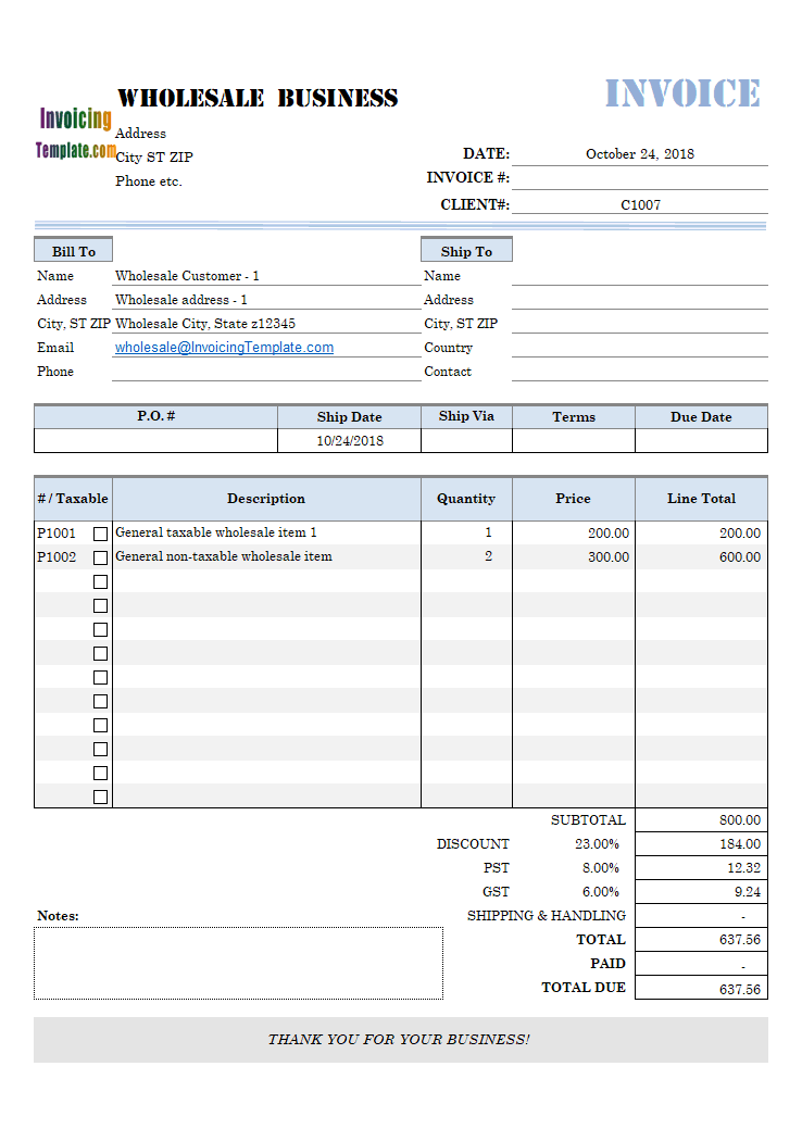 Wholesale Invoice Form with Per-Customer Discount Rate
